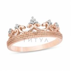 Золотое кольцо в форме короны с бриллиантами