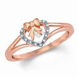 Кольцо Бантик из красного золота с бриллиантами