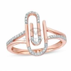 Кольцо Скрепка из красного золота с бриллиантом