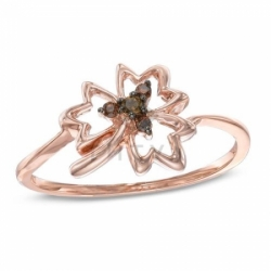 """Кольцо """"Клен"""" из красного золота с коньячными  бриллиантами"""