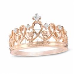 Кольцо Корона из красного золота с бриллиантами