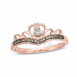 Бриллиантовое кольцо Корона из красного золота