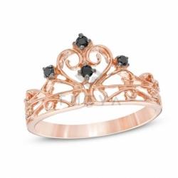 Золото кольцо Корона с черными бриллиантами