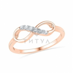"""Золотое кольцо с бриллиантами """"Бесконечность"""""""