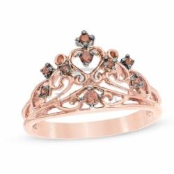 Кольцо Корона из красного золота с коньячными бриллиантами