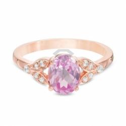 Кольцо из красного золота с розовым сапфиром и бриллиантом