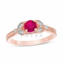 Кольцо из красного золота с рубином и бриллиантом