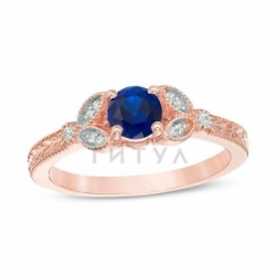 Кольцо из красного золота с сапфиром и бриллиантом