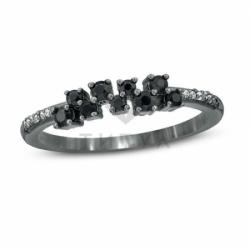 Кольцо из черного золота со шпинелью и бриллиантом