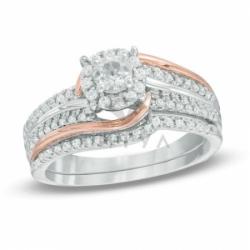 Комплект свадебных колец из комбинированного золота с белым сапфиром и бриллиантом