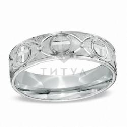 Мужское кольцо из белого золота без камней
