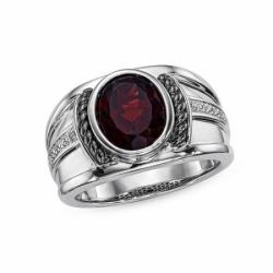 Мужское кольцо из белого золота с гранатом и бриллиантом