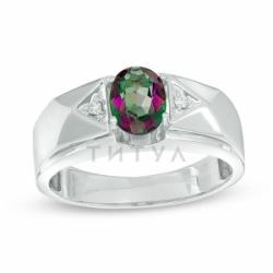 Мужское кольцо из белого золота с талькохлоритом и бриллиантом