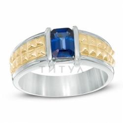 Мужское кольцо из комбинированного золота с сапфиром