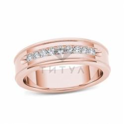 Мужское кольцо из красного золота с бриллиантом