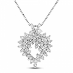Подвеска в виде сердца из белого золота с бриллиантом