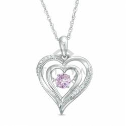Подвеска в виде сердца из белого золота с розовым сапфиром и бриллиантом