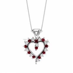Подвеска в виде сердца из белого золота с рубином и бриллиантом