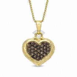 Подвеска в виде сердца из желтого золота с бриллиантом
