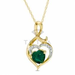 Подвеска в виде сердца из желтого золота с изумрудом и бриллиантом