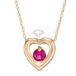 Подвеска в виде сердца из желтого золота с рубином