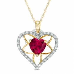 Подвеска в виде сердца из желтого золота с рубином и бриллиантом