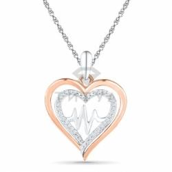 Подвеска в виде сердца из комбинированного золота с бриллиантом