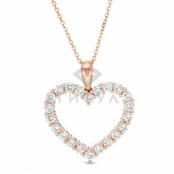 Подвеска в виде сердца из красного золота с бриллиантом