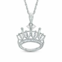 Подвеска Корона из белого золота с бриллиантами
