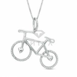 Подвеска Велосипед из белого золота с бриллиантами