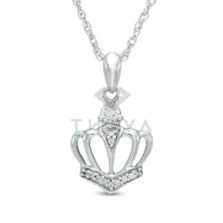 Подвеска золотая Корона с бриллиантами