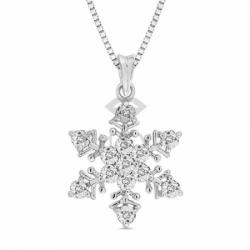 Золотая подвеска Снежинка с бриллиантами