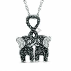 Подвеска Слоники из белого золота с черными и белыми бриллиантами