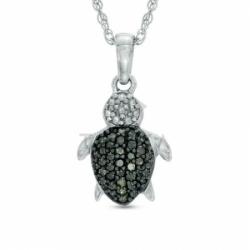 Подвеска Морская черепашка из белого золота с бриллиантами