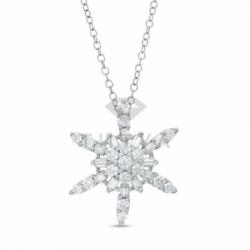 Подвеска Снежинка из белого золота с бриллиантами