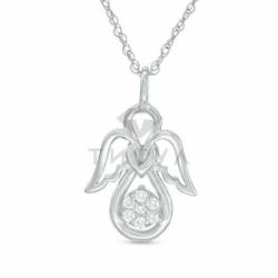 Подвеска в виде ангелочка из белого золота с бриллиантами