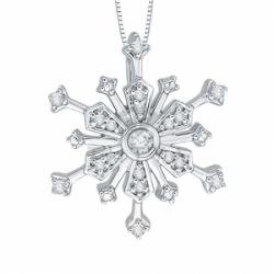 Подвеска Снежинка из белого золота с бриллиантом