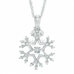 Подвеска Снег из белого золота с бриллиантами