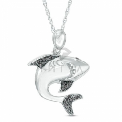 Подвеска Акула из белого золота с черными бриллиантами