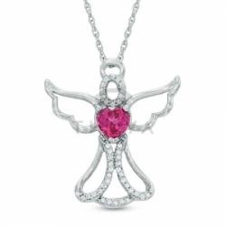 Подвеска Ангел из белого золота с рубином и бриллиантами