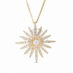 Подвеска Звездочка из желтого золота с бриллиантами