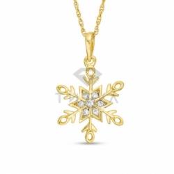 Подвеска Снежинка из желтого золота с бриллиантами