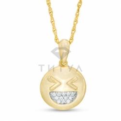 Подвеска Смайл из желтого золота с бриллиантом