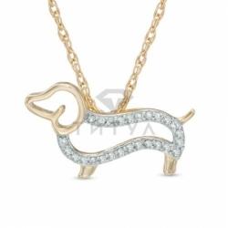 Бриллиантовая собака из желтого золота