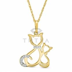Подвеска Кошки из желтого золота с бриллиантом