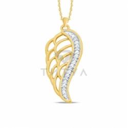 Подвеска Крылья из желтого золота с бриллиантами