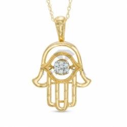 Подвеска в виде руки Фатимы из желтого золота с бриллиантом