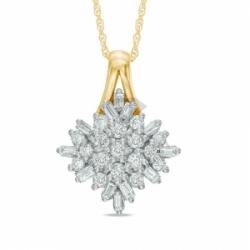Подвеска Снег из желтого золота с бриллиантом